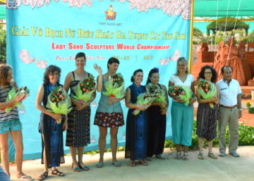 woman sand carving competition