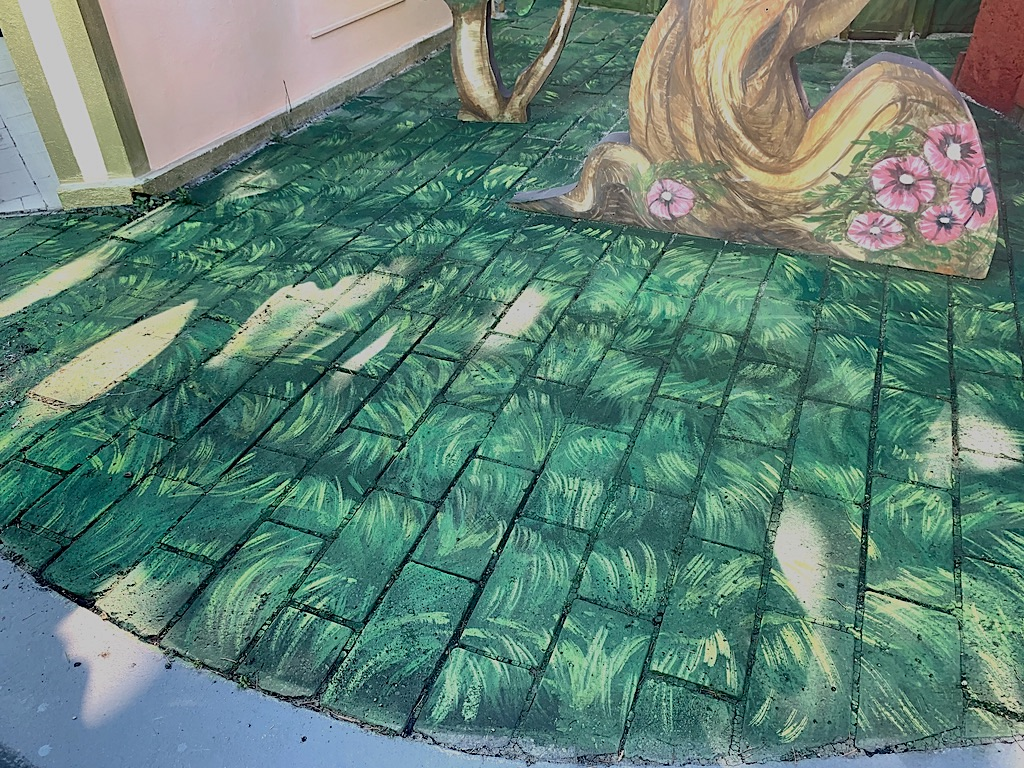 grass effect painted on the floor